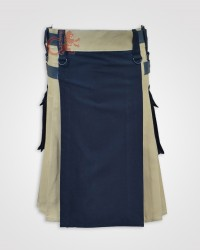 Black and khaki Double Tone kilt with Leather Straps