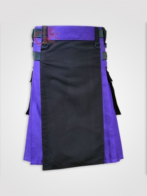Black and Blue Double Tone kilt with Leather Straps