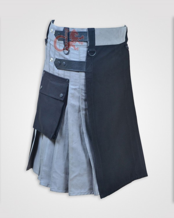 Black and Gray Double Tone kilt with Leather Straps