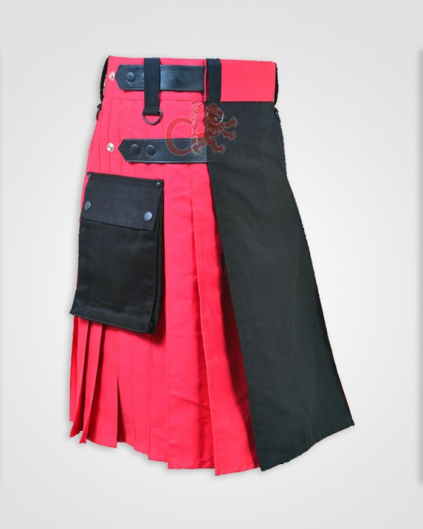 Black and Red Double Tone kilt with Leather Straps