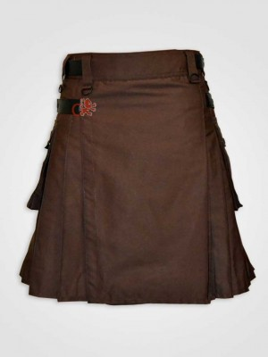 Chocolate brown Leather Straps Kilt
