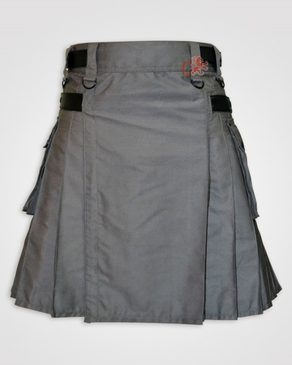 Gray kilt with Leather Straps