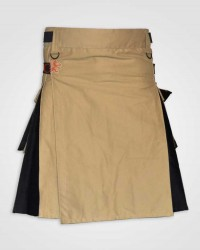 Khaki and Black Hybrid kilt