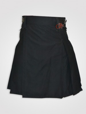 Box Pleated Leather Straps Mocker kilt