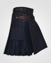Navy Blue Leather Straps kilt