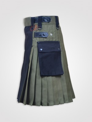 Black and Olive Green Double Tone kilt with Leather Straps