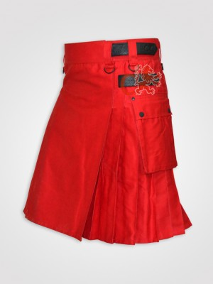 Red Leather Straps kilt