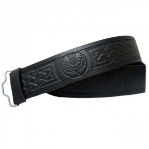 Black Leather Thistle Embossed kilt Belt - Velcro Adjustable