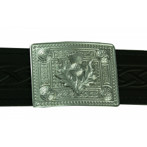 Celtic Knot with Thistle mount Buckle for kilt belt