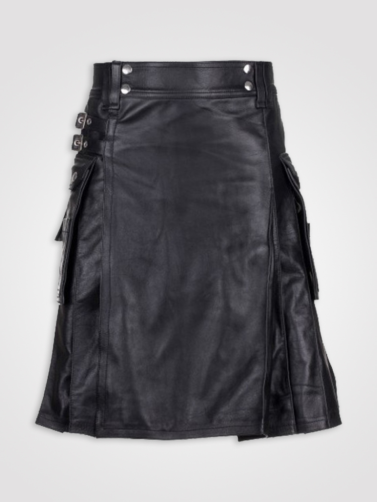 Dkilts Men Modern Black Leather Utility Kilt Leather Kilts