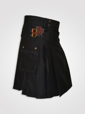 Black Utility Kilt for working men