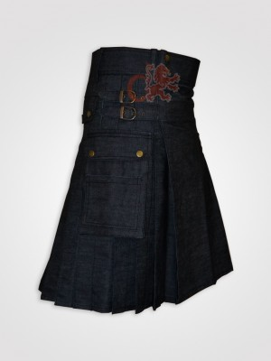 Gray Black Denim Utility kilt