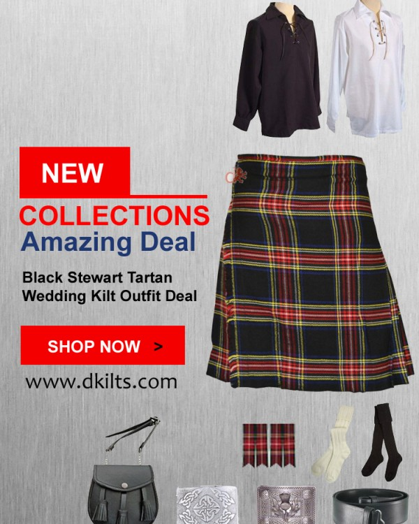 Black Stewart Tartan Wedding Kilt Outfit Deal
