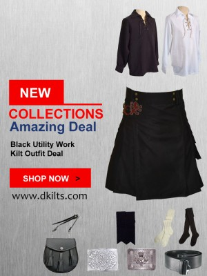 Black Utility Work Kilt Outfit Deal